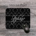 Elegant black damask vintage pattern fancy lettering mousepad