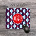 Elegant tracery navy red light blue abstract pattern mat