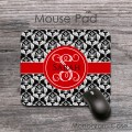 Name or monogram mouse pad with black damask and red ribbon