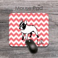 French bulldog coral chevron designed desk mat