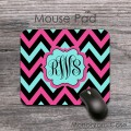 Fuschia black light teal chevron monogrammed mousepad