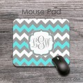 Grey and aqua blue customized chevron desk pad