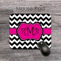 Hot pink lribbon and black white chevron curlz monogram mat