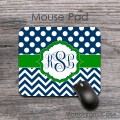 Kelly green preppy design navy blue polka dots chevron mat