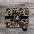 Leopard print cheetah pattern monogrammed mousepad