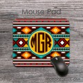 Multicolored southwestern aztec patterns monogrammed mouse pad
