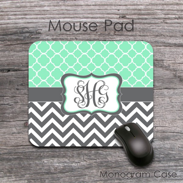 Mint clovers charcoal grey chevron monogrammed mouse pad