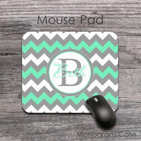 Mint grey fresh chevron desk pad