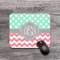 Mint polka dots coral chevron monogrammed mouse pad