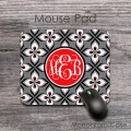 monogrammed mouse pad gray red black retro floral pattern