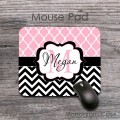 Moroccan baby pink pattern black chevron desk pad