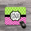 Vine monogrammed mouse pad magenta and lime green