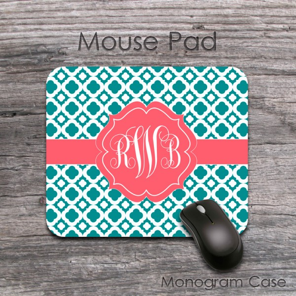 Mousepad teal and red coral clovers design