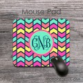 Multicolored chevron monogrammed mousepad