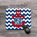 anchor nautical design red and dark blue  mouse pad