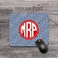 Navy blue red greek key pattern custom mouse pad