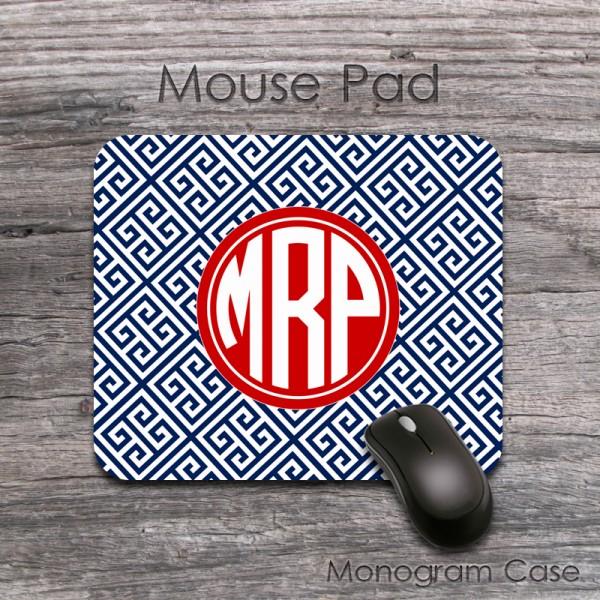 Navy blue red greek key pattern custom mouse pad