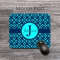 Neon blue floral retro pattern customized mouse pad
