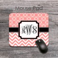 Peach quatrefoil zig-zag  monogrammed mouse pad