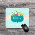 Pretty light blue polka dots vintage flowers desk mat
