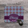 Purple pink aqua blue retro pattern desk mat