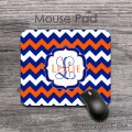 Royal blue and orange chevron customized mouse pad