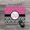 Smoky pink damask black white vintage design desk mat