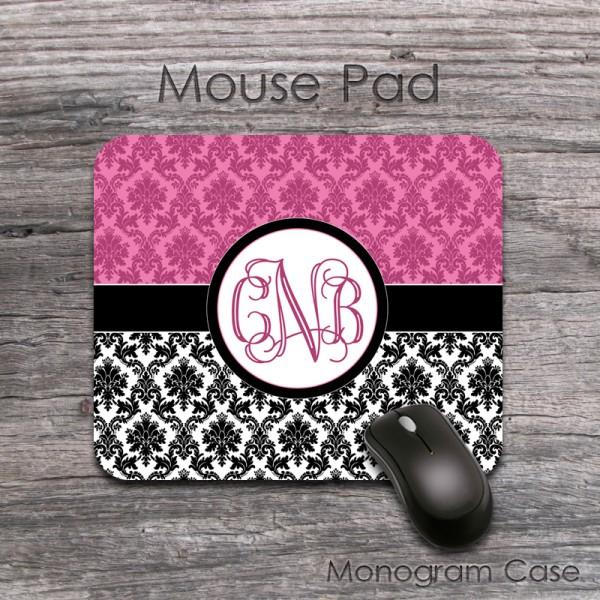 Smoky pink damask black white vintage design desk mat