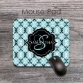 Soft blue black white vintage damask customized mousepad