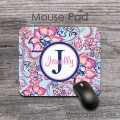 Soft pink peach flowers blue design mouse pad