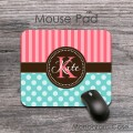 Polka dots mousepad design coral stripes and ligt teal