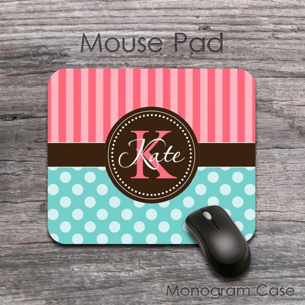 Polka dots mousepad design coral stripes and ligt teal