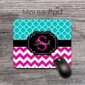 Stylish trendy pink and teal clovers personalized mousepad