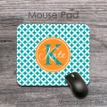 Teal diamonds pattern tangerine design desk mat