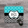 Thin black chevron turquoise pattern fancy monogramed mat