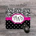 Black and white polka dots and zebra print with hot pink label design mat