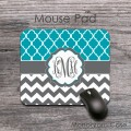 Turquoise pattern charcoal gray chevron mouse pad