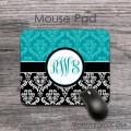 Vintage black teal damask monogrammed mouse pad