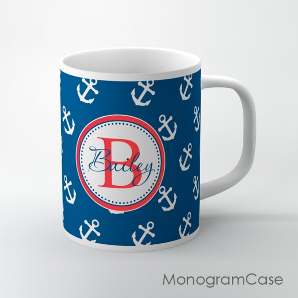 Anchors background personalized with name coffee cup