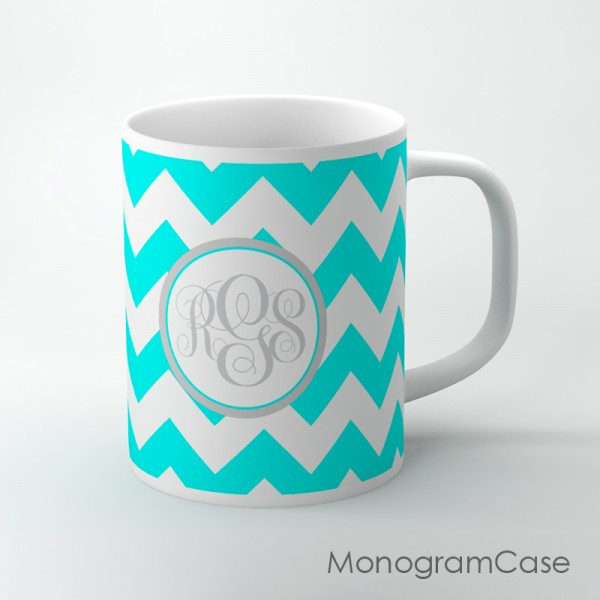 Aqua chevron coffee mug with initials  monogram