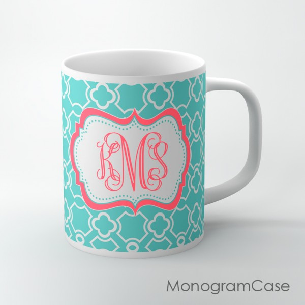 Aquamarine clovers pattern pink coral monogram tea cup
