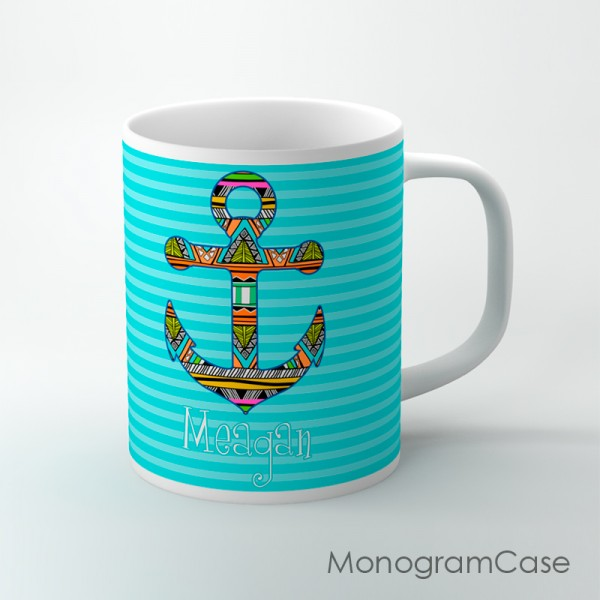 Aztec anchor blue stripes coffee mug