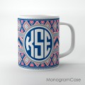 Boho chic navy coral colorful pattern circle monogram mug