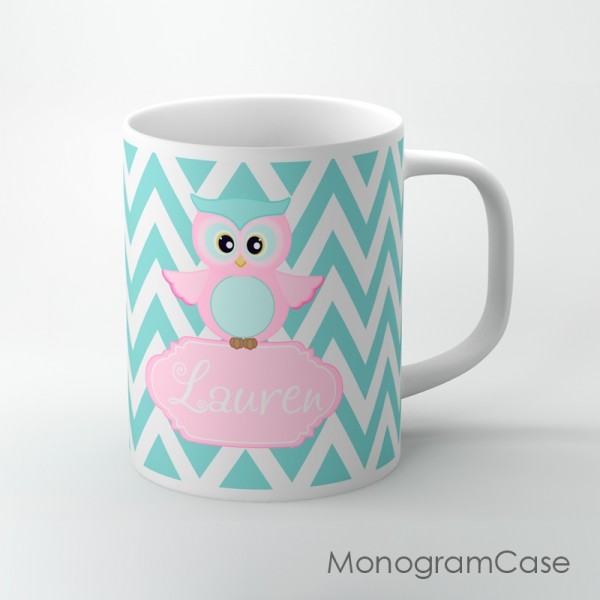 Baby pink owl personalized coffee cup