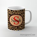 leopard animal print pattern with monogram coffee cup