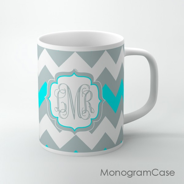 Chevron gray and aqua coffee mug with vine monogram
