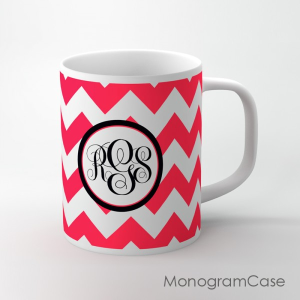 Classic red chevron on black monogrammed cup