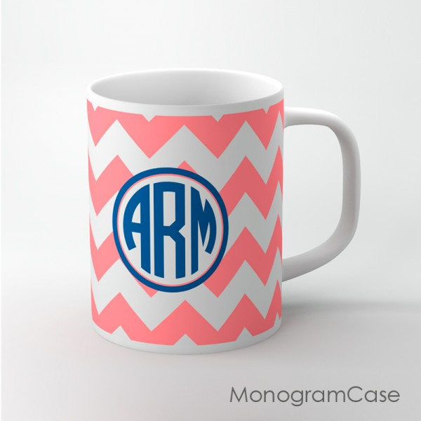 Customized coral bold chevron and monogram coffee cup