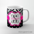 Cute black polka dots zebra print hot pink design coffee cup