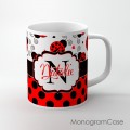 Cute ladubugs red black polka dots design mug